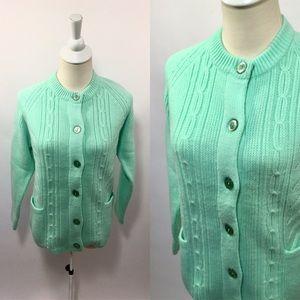 Vintage 60s Mint Jadeite Green Cardigan Sweater